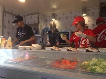 Burger making at the Stade de France, Paris, Euro 2016